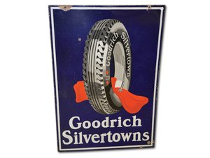 Goodrich Silvertowns with Tire and Red Tube Porcelain Sign For Sale by Auction