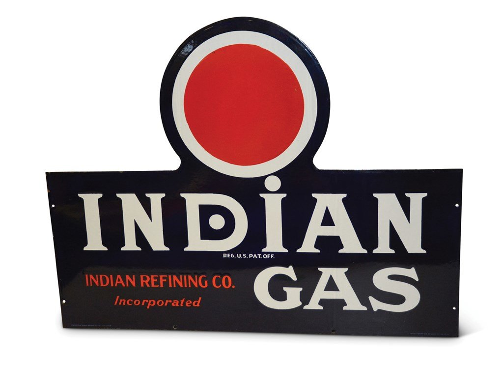 Indian Gas with Red Dot Logo Large Porcelain Sign For Sale by Auction (picture 1 of 1)