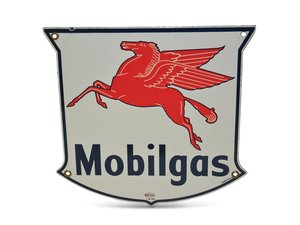 Mobilgas with Pegasus Porcelain Sign For Sale by Auction