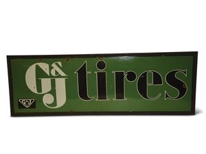 """G&J Tires"" with Logo Porcelain Sign For Sale by Auction"