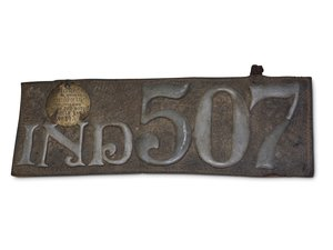 Indiana Letter License Plate No. 507 For Sale by Auction