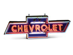 Multi-Color Chevrolet in Bowtie Neon Porcelain Sign For Sale by Auction