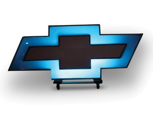 Modern Illuminated Chevrolet Bowtie Sign For Sale by Auction