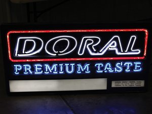 """Doral Premium Taste"" Cigarettes Neon Sign For Sale by Auction"