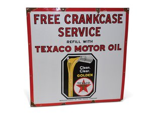 "Texaco Black-T Motor Oil ""Free Crankcase Service"" Porcelain  For Sale by Auction"