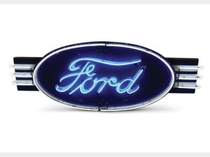 Ford Large Oval Neon Porcelain Sign For Sale by Auction