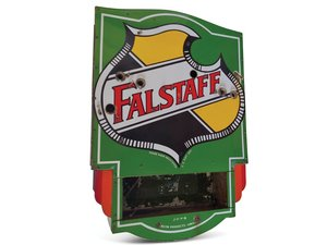 Falstaff Beer Logo Neon Porcelain Sign with Privilege Panel  For Sale by Auction