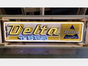 Delta Tires Neon Tin Sign For Sale by Auction