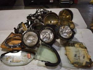 Assortment 1930s-1940s Ford headlights, lenses, wiring harne For Sale by Auction