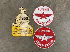 Tydol Flying A Pump Plates with Tydol Metal Sign For Sale by Auction
