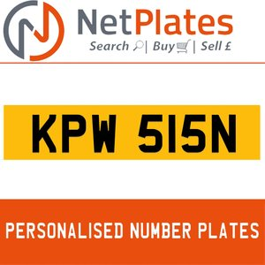 KPW 515N PERSONALISED PRIVATE CHERISHED DVLA NUMBER PLATE For Sale