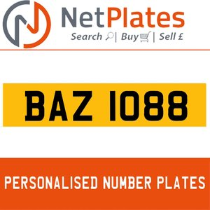 BAZ 1088 PERSONALISED PRIVATE CHERISHED DVLA NUMBER PLATE For Sale