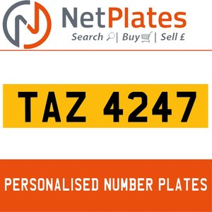 TAZ 4247 PERSONALISED PRIVATE CHERISHED DVLA NUMBER PLATE For Sale