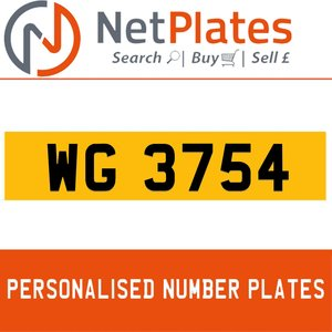 WG 3754 PERSONALISED PRIVATE CHERISHED DVLA NUMBER PLATE For Sale