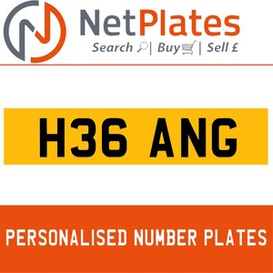 H36 ANG PERSONALISED PRIVATE CHERISHED DVLA NUMBER PLATE