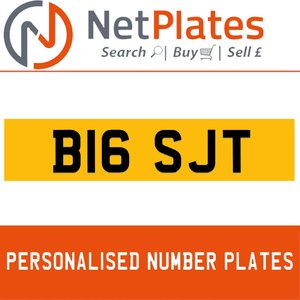 B16 SJT PERSONALISED PRIVATE CHERISHED DVLA NUMBER PLATE For Sale