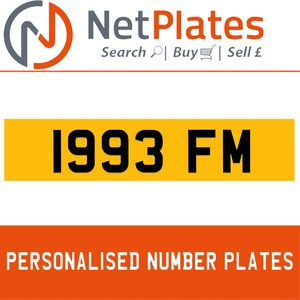 1993 FM PERSONALISED PRIVATE CHERISHED DVLA NUMBER PLATE For Sale
