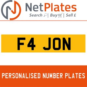 F4 JON PERSONALISED PRIVATE CHERISHED DVLA NUMBER PLATE For Sale