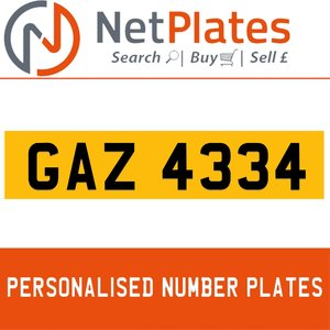 GAZ 4334 PERSONALISED PRIVATE CHERISHED DVLA NUMBER PLATE For Sale