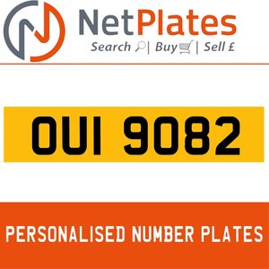 OUI 9082 PERSONALISED PRIVATE CHERISHED DVLA NUMBER PLATE For Sale