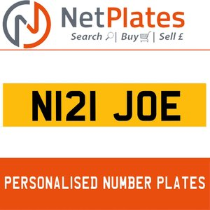 N121 JOE PERSONALISED PRIVATE CHERISHED DVLA NUMBER PLATE For Sale
