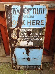 Picture of 1955 Royal Blue Coaches enamel sign For Sale