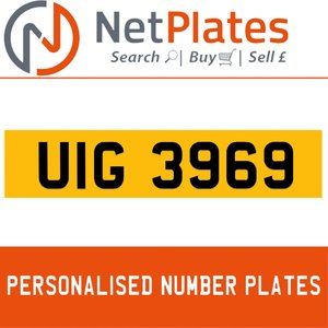 UIG 3969 PERSONALISED PRIVATE CHERISHED DVLA NUMBER PLATE For Sale
