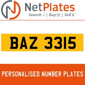 BAZ 3315 PERSONALISED PRIVATE CHERISHED DVLA NUMBER PLATE For Sale