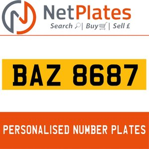BAZ 8687 PERSONALISED PRIVATE CHERISHED DVLA NUMBER PLATE