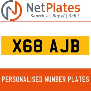 X68 AJB PERSONALISED PRIVATE CHERISHED DVLA NUMBER PLATE For Sale