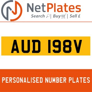 AUD 198V PERSONALISED PRIVATE CHERISHED DVLA NUMBER PLATE For Sale