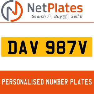 DAV 987V PERSONALISED PRIVATE CHERISHED DVLA NUMBER PLATE For Sale