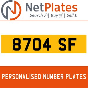 8704 SF PERSONALISED PRIVATE CHERISHED DVLA NUMBER PLATE For Sale