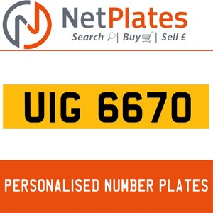 UIG 6670 PERSONALISED PRIVATE CHERISHED DVLA NUMBER PLATE For Sale