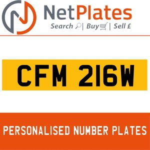 CFM 216W PERSONALISED PRIVATE CHERISHED DVLA NUMBER PLATE For Sale