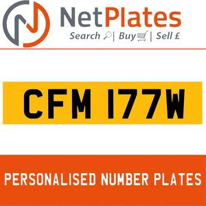 CFM 177W PERSONALISED PRIVATE CHERISHED DVLA NUMBER PLATE For Sale