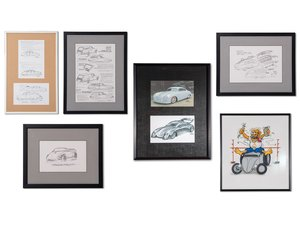 Porsche Concept Drawings by Byron Kauffman and Porsche Hot R For Sale by Auction