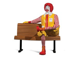 Ronald McDonald Sculpture with Bench For Sale by Auction