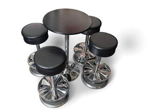 Niche Bahn Wheel Bar Stools and Table For Sale by Auction