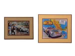 Porsche 550 Spyder Panamericana Road Race Framed Artwork For Sale by Auction