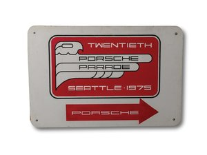 Twentieth Porsche Parade, Seattle 1975, Painted Wood Sign For Sale by Auction