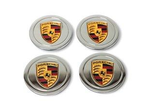 Chrome Porsche Crest Center Caps For Sale by Auction