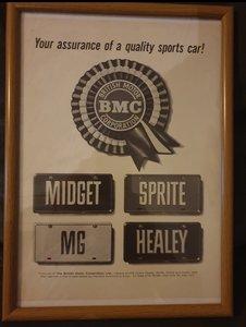 1962 BMC Framed Advert Original