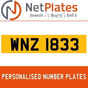 2000 WNZ 1833 PERSONALISED PRIVATE CHERISHED DVLA NUMBER PLATE For Sale