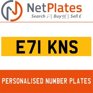 1987 E71 KNS PERSONALISED PRIVATE CHERISHED DVLA NUMBER PLATE For Sale