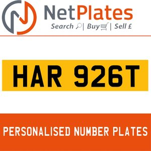 1990 HAR 926T PERSONALISED PRIVATE CHERISHED DVLA NUMBER PLATE For Sale