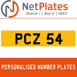 1996 PCZ 54 PERSONALISED PRIVATE CHERISHED DVLA NUMBER PLATE For Sale