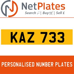1992 KAZ 733 PERSONALISED PRIVATE CHERISHED DVLA NUMBER PLATE For Sale