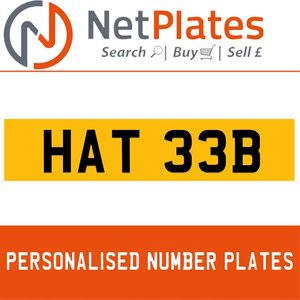 1990 HAT 33B PERSONALISED PRIVATE CHERISHED DVLA NUMBER PLATE For Sale