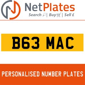 1984 B63 MAC PERSONALISED PRIVATE CHERISHED DVLA NUMBER PLATE For Sale
